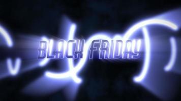 animering intro text svart fredag och rörelse blå neon cirklar, abstrakt bakgrund video