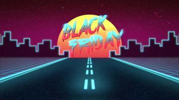 animação intro texto black friday e mountain com road e city, retro background video