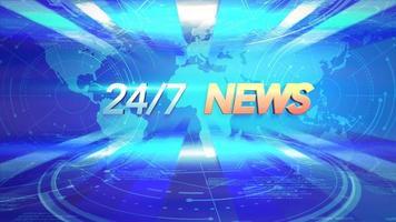 Animación texto 24 noticias y gráfico de introducción de noticias con líneas azules y mapa del mundo en estudio video