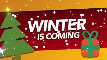 animerad närbild vinter kommer text och vita snöflingor på semesterbakgrund video