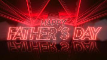 animação texto feliz dia dos pais e movimento linhas de néon vermelho, fundo abstrato do feriado