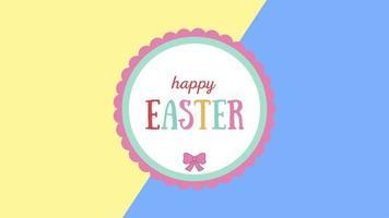 Texte de pâques heureux gros plan animé sur fond vertige jaune et bleu
