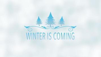 animerad närbild vinter kommer text, blå julgranar på snöbakgrund