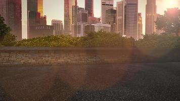 panorama över stadslandskap med många stora byggnader och parkera i sommardag
