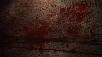 filmische achtergrond met bewegingscamera en bloed op de muur