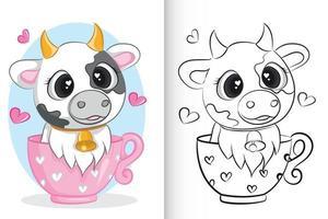 Cute cow in pink cup. coloring book for preschool children. vector