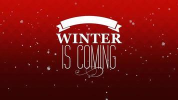 animerad närbild vintern kommer text och flyga vita snöflingor på snö röd bakgrund