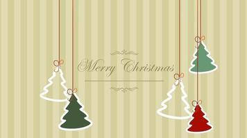 closeup animado com texto de feliz natal e árvores de natal no fundo do feriado de inverno video