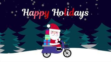closeup animado texto de boas festas e Papai Noel em motocicleta na floresta de neve, plano de fundo do feriado