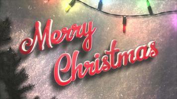 animerad närbild text för god jul, färgglada kransar och julgröna trädgrenar video