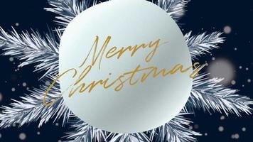 Gros plan animé texte joyeux Noël et paysage d'hiver avec des flocons de neige sur fond de vacances