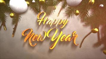 closeup animado texto de feliz ano novo, bola branca e amarela, ramos verdes de natal na neve