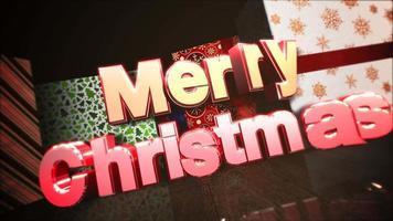 closeup animado texto de feliz natal, caixas de presente na sala, fundo de madeira