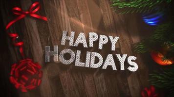 Animé gros plan de texte de joyeuses fêtes, coffrets cadeaux et branches d'arbres verts avec des boules sur bois video
