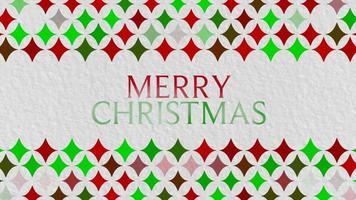 animerad text för glad jul och presentdesign med rött och grönt geometriskt mönster på semesterbakgrund video
