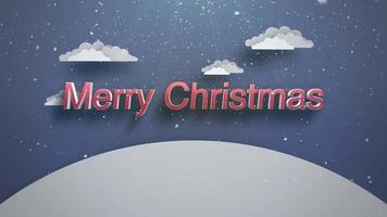 closeup animado texto de feliz natal, montanhas e paisagem nevando