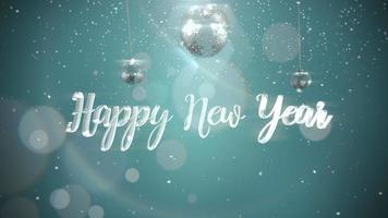 Primer plano animado feliz año nuevo texto, bolas plateadas sobre fondo de brillo
