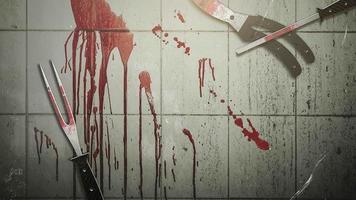 fundo de terror místico com sangue escuro e instrumentos médicos