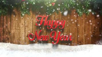animado close-up texto de feliz ano novo, flocos de neve brancos e fundo de madeira