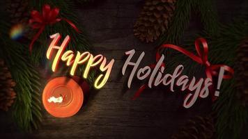 Primer plano animado feliz Navidad texto, velas y ramas de árboles verdes sobre madera
