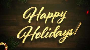 closeup animado texto de boas festas, guirlanda colorida e galhos de árvores verdes de Natal na madeira video