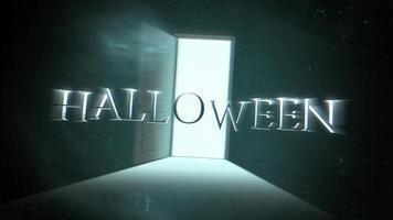 animação texto halloween e fundo de terror místico com porta escura da sala