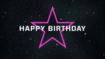 texto de animação feliz aniversário em fundo preto grunge e minimalismo com estrelas na galáxia video