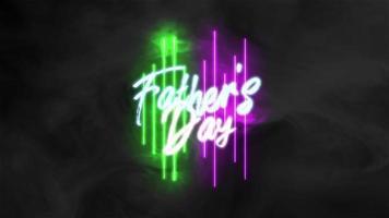 animation text fäder dag på mode och klubb bakgrund med glödande gröna och lila neon linjer