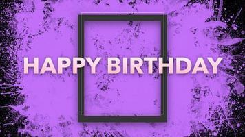 texto de introdução de animação feliz aniversário em fundo roxo moda e minimalismo com moldura geométrica video