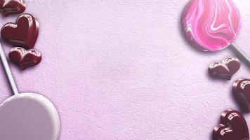animação movimento corações românticos vermelhos e e doces no fundo rosa brilhante do dia dos namorados