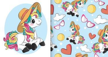 Cute rainbow baby unicorn design with Flat unicorn pattern vector