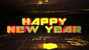 texto de animação feliz ano novo e fundo de animação cyberpunk com chip de computador e luzes de néon