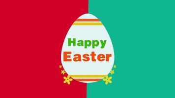 animierte Nahaufnahme glücklich Ostern Text und Ei auf rotem und grünem Schwindelhintergrund video