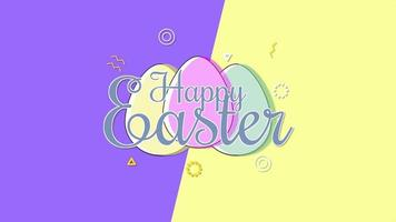 closeup animado texto feliz páscoa e ovos na vertigem roxa e amarela video