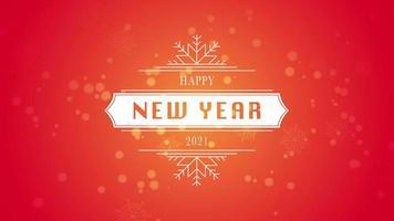 animerad närbild gott nytt år och 2021 text, vit snöflinga och glitter på snö röd bakgrund