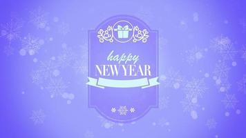 closeup animado texto de feliz ano novo e floco de neve com presente em fundo roxo de neve video