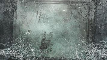Fondo de terror místico con telaraña oscura y cámara de movimiento, telón de fondo abstracto video