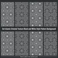 Establecer textura oriental islámica de fondo de patrón de estilo blanco y negro