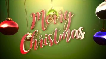 primer plano animado feliz navidad texto, bolas de colores sobre fondo verde