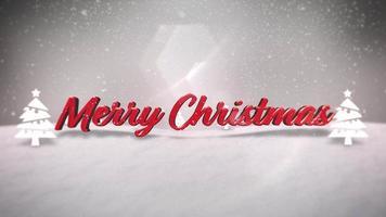closeup animado texto de feliz natal, montanhas, floresta e paisagem nevando