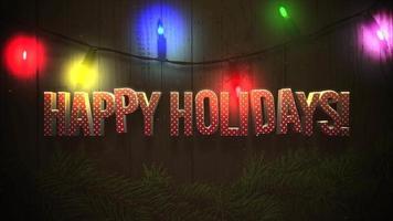animerad närbild glad semester text och färgglada krans på trä bakgrund video