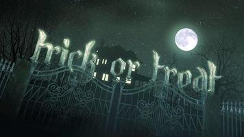 animação de texto doçura ou travessura e fundo de terror místico com a casa e a lua