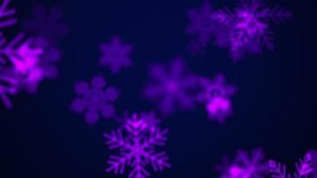 Animation fly white snowflakes and glitters on purple holiday background video