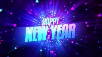 texto de animación feliz año nuevo y bola de discoteca de movimiento, fondo abstracto de vacaciones video