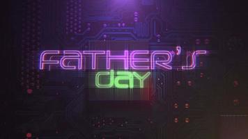 animação texto dia dos pais e fundo de animação cyberpunk com chip de computador e luzes de néon