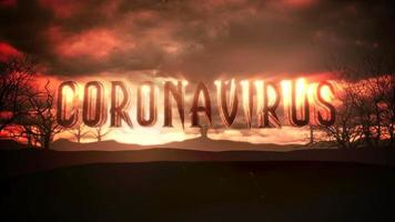 Animation text Coronavirus and mystical animation halloween background with dark clouds and mountains video
