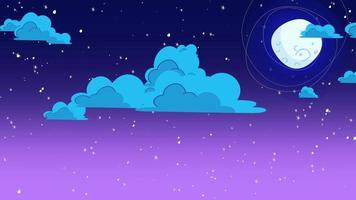 Karikaturanimationshintergrund mit Bewegungswolken und Mond auf blauem Himmel, abstrakter Hintergrund