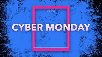 animazione intro testo cyber lunedì su sfondo nero di moda e minimalismo con macchie blu video