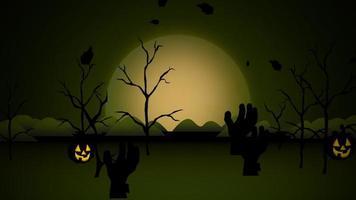 halloween-achtergrondanimatie met de pompoenen, bomen en de maan
