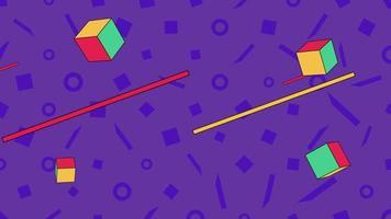 movimento formas geométricas abstratas linhas e quadrados, fundo azul de memphis video